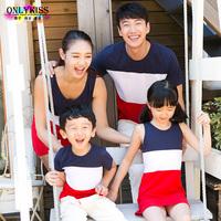 freeshipping 2014 summer new children clothes vestido festa menina brand cotton dresses/t shirt Family Pack,for mom,girl,boy,dad