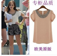 2014 New Summer Casual Women Lady Beading Blouses Short Puff Sleeve Chiffon Loose Shirts