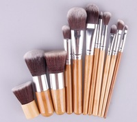 Free shipping New 2014 Hot 11pcs Pro Makeup Eyeshadow Blush Brushes Cosmetic Set Kit + Bag