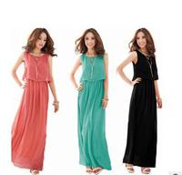 LOWEST!!!2014 New Summer Bohemian Women Chiffon Ankle-Length Long Dresses Sleeveless Vest Dress Vestidos,free shipping