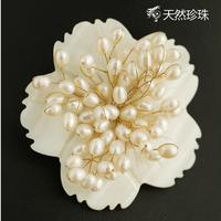 Natural freshwater pearl brooch Pins Handmade camellia Shell Flower Fine Elegant jewelry Birthstone Gift