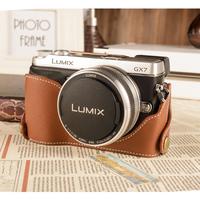 For  for panasonic   gx7 genuine leather set base gx-7 camera bag cowhide battery cutout