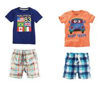 ST058 Free Shipping Boys Clothing Sets Children Suits Baby Flag &Car Cartoon T-shirts+ Plaid Pants Baby Short-Sleeve Sets