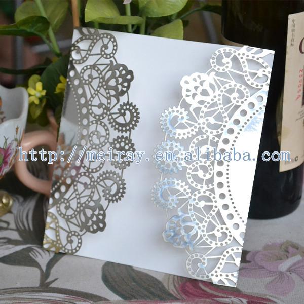 Cartões de convite de casamento de corte a laser de papel 200pcs / lote , flor de luxo rendas pérola cartões de convite de prata para o casamento na china(China (Mainland))