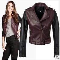 2014 Spring  New Leather Jacket Women outerwear jackets Slim Motorcycle Leather Coat  PU Short Jacket  Leather Clothing Women