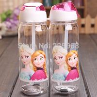 wholesale 10pcs/lot FROZEN drink bottle cartoon straw cups children sports water bottle plastic cute cup gifts