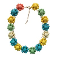 New 2014 fashion women necklace acrylic beads flower necklace chunky luxury statement necklace for women jewelry