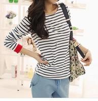 HOTSALE!!!2014 New Women's Leisure O-Neck Shirt Striped Long Sleeve Shirts Tops Free Shipping