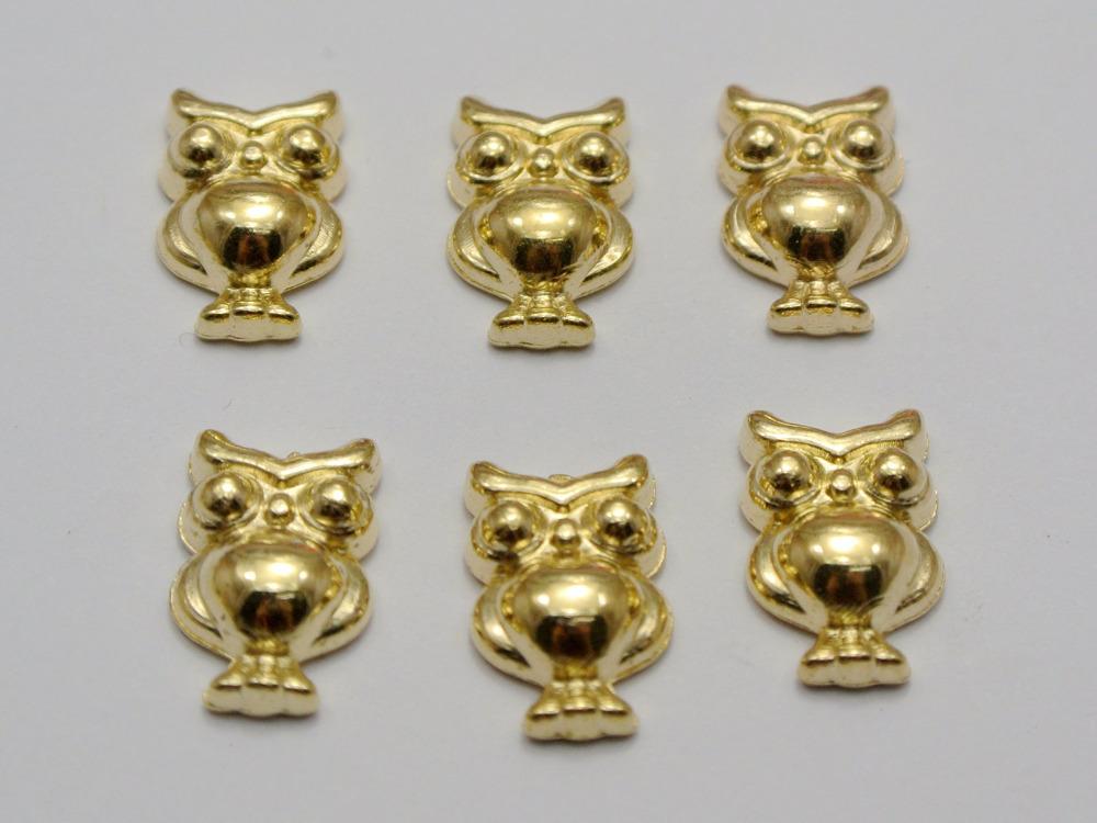 100 Gold Tone Metallic Acrylic Owl Studs 14X9mm No Hole Cell Phone Deco(China (Mainland))