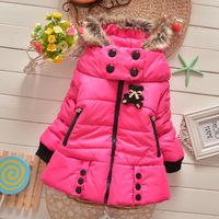 2014 Autumn Winter Girls Coats fleece warm jackets Girl's brand coat cartoon rabbit  Children outwear coats big  fur collar hat
