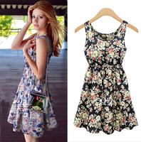 European style flower print summer dress 2015 plus size scoop neck rural floral sundresses vestidos estampado casual dress C526