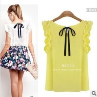 WHOLESALE!!!2014 Women's Blouse Chiffon Shirt O-neck Lotus Leaf Pullover Lacing Bow Free Shipping