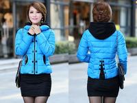 new 2014 winter coat short design cotton women jacket Hooded jacket zippers button down coat ladies jacket  parkas size XL-XXXXL