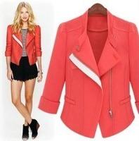 2014 autumn british style fashionable casual all-match oblique zipper slim short jacket