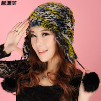 Sheep rex rabbit hair cap  winter fashion earmuffs women's thermal thickening tassel fur hat