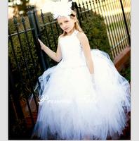 2014 Gorgeous Girl Ivory Satin White Train Tulle Tutu Dess Flower Girl Dress Vintage Photography Girl Evening Dress Customize