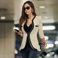A135 2014 swomen new fashion black white long sleeve v neck sexy slim blazer coats ladies spring autumn jackets plus size S-XL