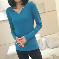 New Fashion Women Basic Long Sleeve Stretch T-Shirts Cotton Crew neck Top Blue