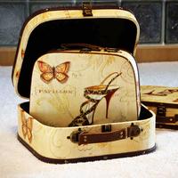 Spring and autumn vintage print suitcase piece set clothing storage box wool cosmetics finishing box