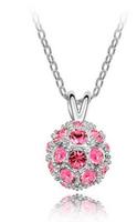 Lovely Design Beautiful Shiny Imitation Rhinestone Crystal Ball Shaped Necklace Pendant JA5315