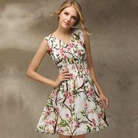 2014 New arrived! summer fashion European elegance significant lanky waist print women's dresses