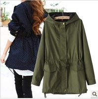 Free shipping 2014 autumn women's casual long-sleeved hooded frock coat female models dot dot waist windbreaker jacket