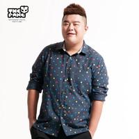 Thepang plus size male long-sleeve shirt loose male polka dot print shirt Large