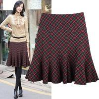 Autumn and winter bust skirt 2014women's plaid casual wool woolen half-skirt medium skirt