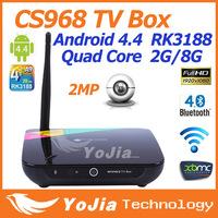 1pc CS968 Android 4.4 Kitkat Quad CoreTV Box RK3188 Quad Core 2G/8G support XBMC Preinstalled Web Cam Mic WiFi Remote Control