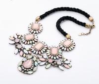 2014 New Fashion Layered Ethnic Rhinestone Chain Choker Flower Neon Statement Necklaces & Pendants Women Free Shipping