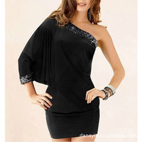 Special selling Fashion Woman Sexy Hot Package hip Shoulder Maiden party Neck Long sleeve Formal dress Dress N055