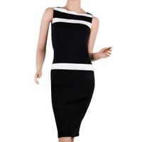 BeautyWill Women's Slash neck Short Sleeveless Pencil Dress