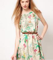 New 2014 Fashion women dress Printed chiffon dress new fashion sleeveless dress with belt