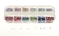 3000pcs 2mm Round mix 12 colors Nail Art Rhinestones Decoration Glitters Case Nail Tips    NA094