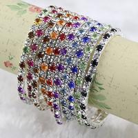 Wholesale - MIC IN STOCK 20 Pcs/lot Colorful Spring Row Rhinestone Bracelet Tennis