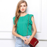 2003 free shipping 2014 summer women new fashion 4 colors plus size o neck sleeveless chiffon blouses ladies cute tops tees XL