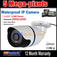 Free shipping 5.0 Megapixel Waterproof IP Camera 2592x1920 resolution HD 1920P Onvif H.264 Night Vision 24 IR Led plug and play