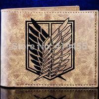 Top sale Attack On Titan wallets Anime fashion casual Khaki purse leather men 2014 New WT044