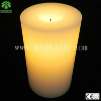 AA battery powered Minki romantic flicking Yellow 2pcs led wax candle for wedding