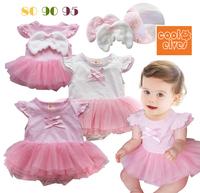Angel design baby bodysuit short sleeve baby girls tutu dress one pieces jumpsuit white pink