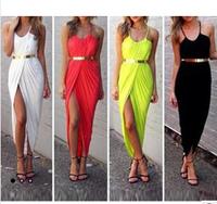 New Summer qomen Dress explosion models irregular solid short in front long halter sleeveless beach Dress