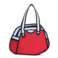 2014 Hot Sale 2D 3D Jump Style Comic Handbag Women's Top Cartoons Shoulder Bag 2D Paper Drawing Gismo Bag Canvas Totes