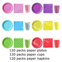 FedEx free shipping 4800pcs Assorted POLKA DOT PARTYWARE Party Tableware Polka Dot Paper Cup Glasses and Plate Napkin Serviette