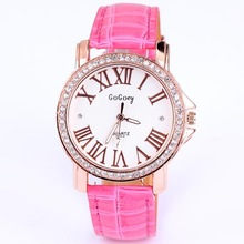 Hot sales free shipping quartz dress diamond roman number leather fashion jewelry gift women leather strap watches