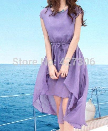 Женское платье Irregular Hem Chiffon Dress Drawstring Dress drawstring fully lined chiffon dress
