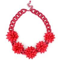 2014 fashion luxury corlorful flower red big clain vintage ZA necklaces & pendants beads gem choker collar shourouk necklace