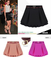 2014 Summer Women's Chiffon Short Pants Candy Color Hot Mini Skirts Pleated Shorts Skirt Free Shipping Plus size S-XXL