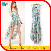 Summer Dress 2014 New Fashion Women's Chiffon Asymmetrical Print Casual Dress Sleeveless Tank O-Neck Dresses Free shipping