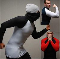 2014 Fashion Men Compression Base Layers Running Cycling Jogging Dance Athletic Tights T Shirts White Black M-XXL Free Ship
