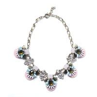 2014 new brand Bronze Zinc Alloy Necklace &Pendant  Pink Fan Choker Bib Statement Necklace women Party Season Gift